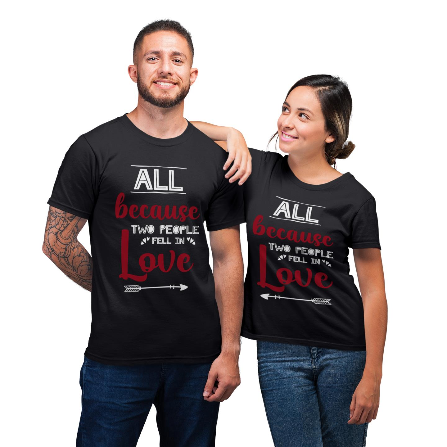 All Because Two People Fell In Love Shirt For Couple Lover Matching T-shirt