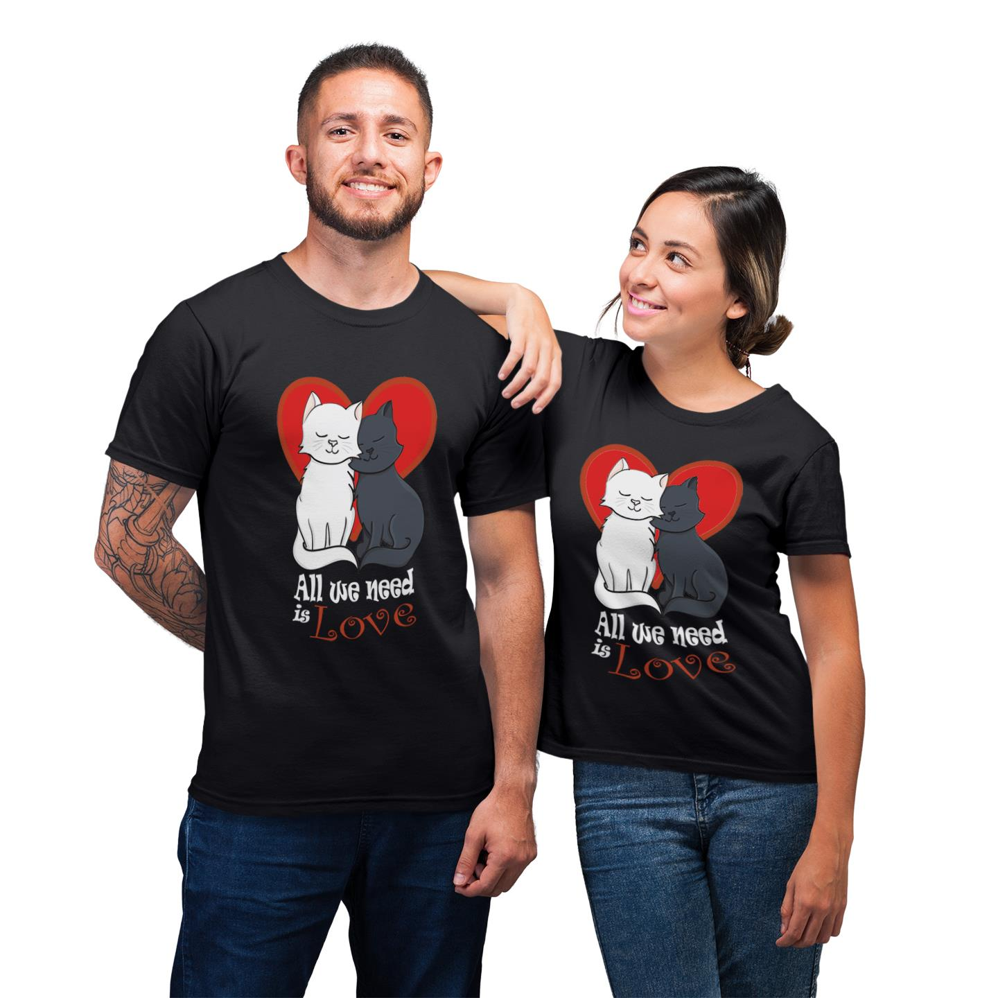 All We Need Is Love Cat With Heart Shirt For Couples Lover Matching T-shirt