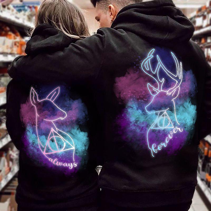 Always Forever Starry Elk Couples Hoodie