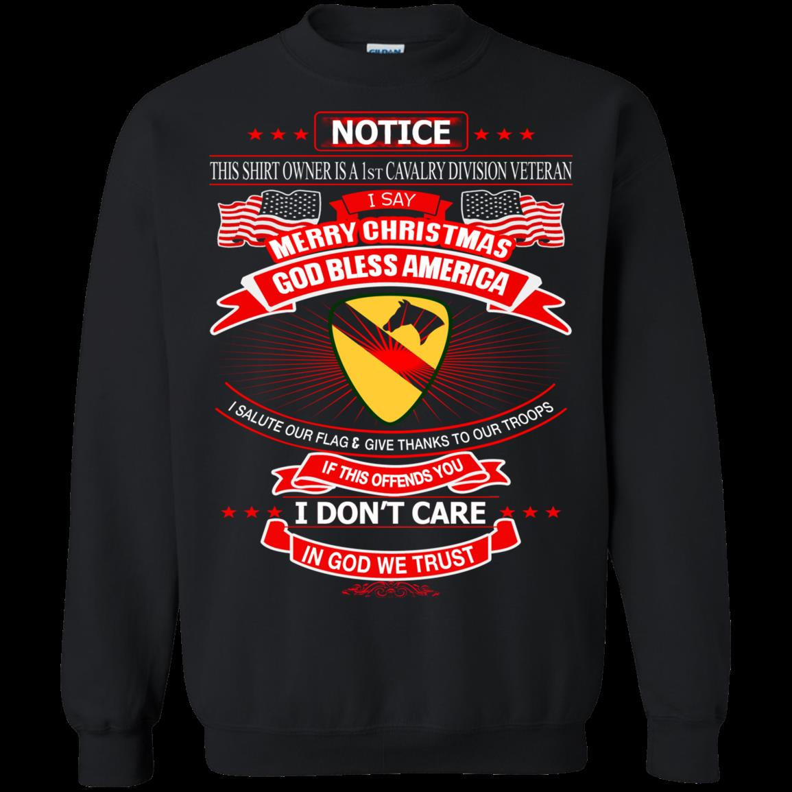 1st Cavalry Divison Veteran Christmas Shirts In God We Trust