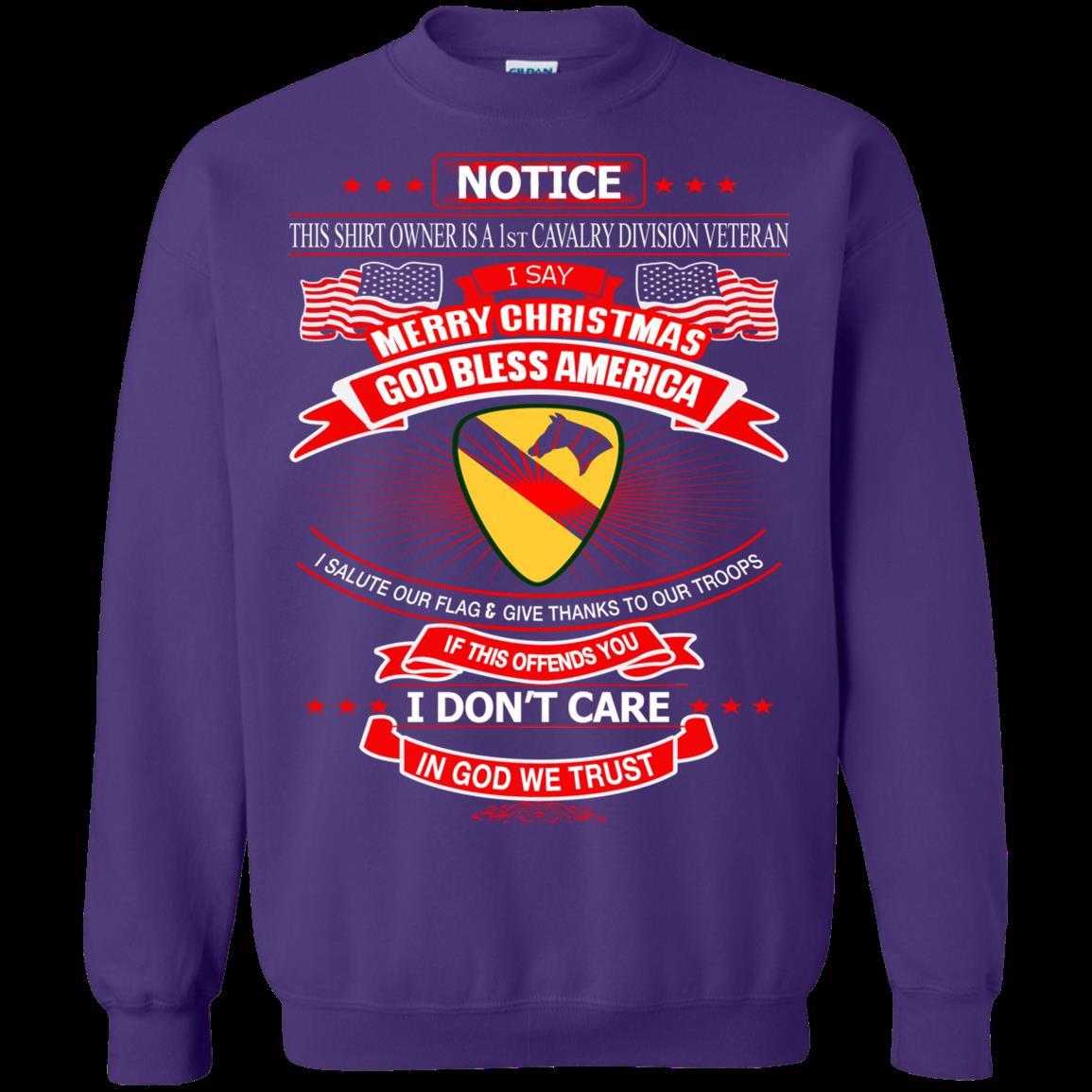 1st Cavalry Divison Veteran Christmas Shirts In God We Trust 1