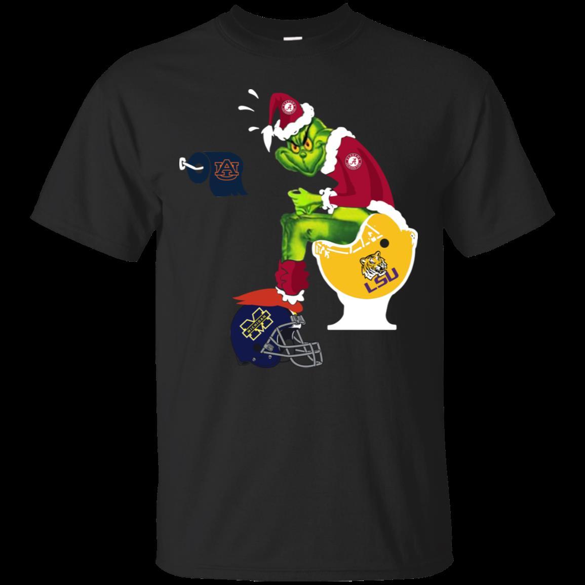 Alabama Crimson Tide Santa Grinch Toilet Shirt Cotton Shirt