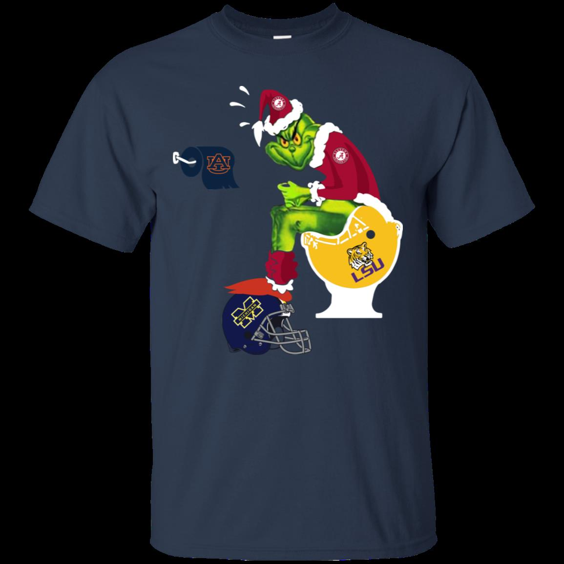 Alabama Crimson Tide Santa Grinch Toilet Shirt Cotton Shirt 1