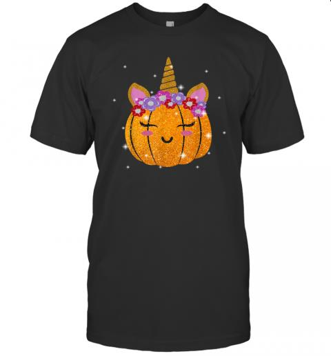 Cute Unicorn Pumpkin Funny Halloween Thanksgiving Gift T Shirt
